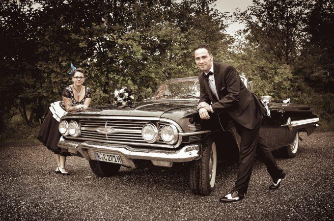 Hochzeitsauto Schwarz weiß